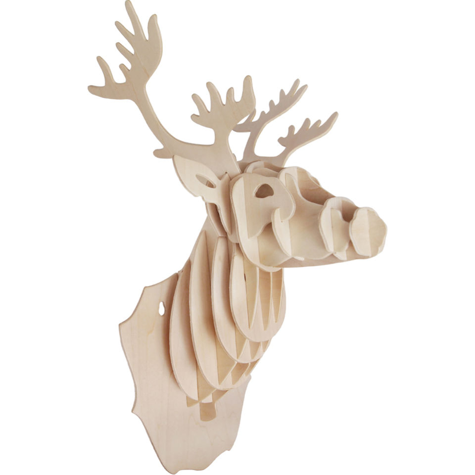 wooden-stag-head