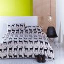 Anorak Kissing Stags Single Duvet Cover - Black