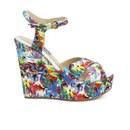 Love Moschino Women's Printed Wedged Sandals - White Multi - UK 3