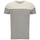 Jack amp Jones Mens Striped Iron T-Shirt - Lily White £16.99 AT vintagedancer.com