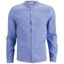 American Vintage Men's Collar Detail Long Sleeve Shirt - Blue
