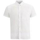 American Vintage Men's Short Sleeve Linen Shirt - White
