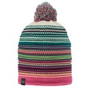 Buff Knitted and Polar Neper Hat - Magenta