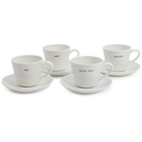 Keith Brymer Jones Espresso Cup and Saucers - White (Set of 4)