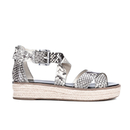 MICHAEL MICHAEL KORS Womens Darby Embossed Printed Snake Espadrille Flatform Sandals  Natural  UK 3