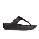 FitFlop Womens Petra Sugar Leather Toe Post Sandals  All Black  UK 5