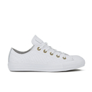 Converse Womens Chuck Taylor All Star Perforated Leather Ox Trainers  WhiteBiscuit  UK 8