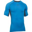Image of Under Armour Men's Armour HeatGear Short Sleeve Training T-Shirt - Brilliant Blue/Stealth Grey