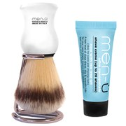 men-ü DB Premier Synthetic Bristle Shaving Brush with Chrome Stand - White