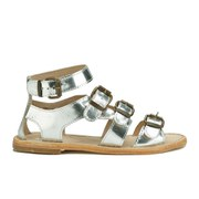 H Shoes by Hudson Women's Newton Buckle Flat Leather Sandals - Silver