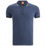 BOSS Orange Men's Argyll Print Slim Fit Plynx Polo Shirt - Navy