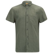 BOSS Orange Men's Ezippo Short Sleeve Linen Shirt - Khaki