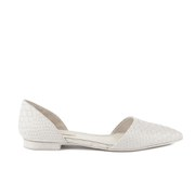 BOSS Hugo Boss Women's Gaya - E Croc Leather Pointed Flats - Open Grey