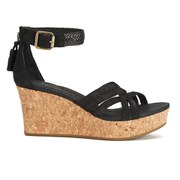 UGG Australia Women's Lillie Suede Wedged Sandals - Black