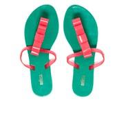 Melissa Women's T-Bar Flip Flops - Emerald/Pink
