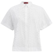 HUGO Women's Enomia Floral-Cut Shirt - White