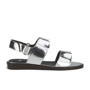 Folk Women's Lore Ruffle Detail Two Part Leather Sandals - Silver