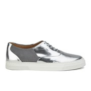 Folk Women's Isa Patent Leather/Suede Plimsoll Trainers - Silver