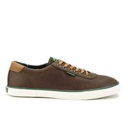 Barbour Men's Valiant Leather Vulcanised Trainers - Dark Brown