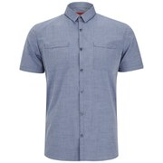 HUGO Men's Ettino Short Sleeve Chest Pocket Shirt - Navy