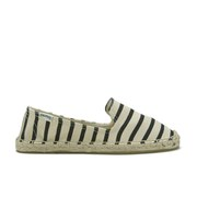 Soludos Women's Classic Stripe Espadrille Canvas Smoking Slippers - Black Natural