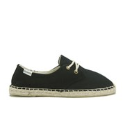 Soludos Women's Lace Up Canvas Espadrille Derby Shoes - Black