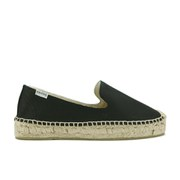 Soludos Women's Platform Espadrille Leather Smoking Slippers - Black