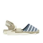 Soludos Women's Classic Stripe Woven Ankle Strap Espadrilles - Light Navy/White