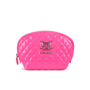 Love Moschino Women's Quilted Patent Cosmetic Bag - Pink