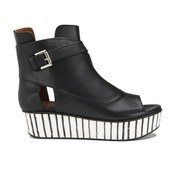 Thakoon Addition Women's Sky 2 Leather Peep Toe Flatform Boots - Black