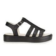 Jil Sander Navy Women's Leather Flatform Sandals - Black