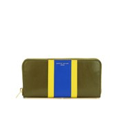 Sophie Hulme Long Gold Spine Purse - Kahki/Yellow/Klein Blue