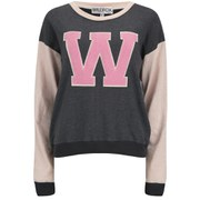 Wldfox Women's Oversized Cheer Squad Sweatshirt - Dirty Black