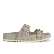 Ash Women's United Star Studded Leather Double Strap Sandals - Gold/Topo