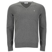 J.Lindeberg Men's Melvin Fine-Cotton V-Neck Knitted Jumper - Mid Grey Melange