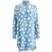 YMC Women's Silk Dot Shirt Dress - Powder Blue