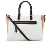 French Connection Women's Colour Block Leather Tote Bag - White/Biscuit/Black