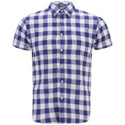 Scotch & Soda Men's Short Sleeve Linen Shirt - Blue/White Check