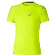 Asics Men's Stripe Shorts Sleeve Running T-Shirt - Safety Yellow