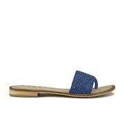 Ravel Women's Cusseta Cracked Flat Slide Sandals - Blue Crackle Leather