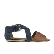 Ravel Women's Dallas Multi Strap Peep Toe Flat Sandals - Navy/Tan