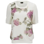 VILA Women's Anna Floral Top - Snow White