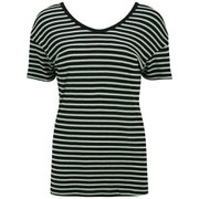 Maison Scotch Women's Relaxed Fit Striped T-Shirt - Black/Mint