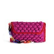M Missoni Women's Raffia Shoulder Bag - Pink