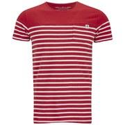 Jack & Jones Men's Striped Iron T-Shirt - Red