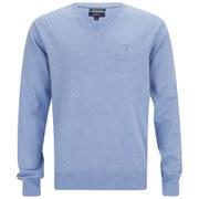 GANT Men's Cotton V-Neck Knitted Jumper - Light Blue