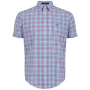 GANT Men's Bel Air Poplin Check Short Sleeve Shirt - Pink