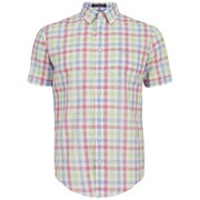 GANT Men's Malibu Heather Poplin Check Short Sleeve Shirt - Green