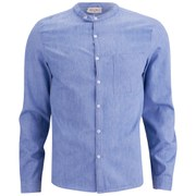 American Vintage Men's Collar Detail Long Sleeve Shirt - Blue