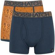 Crosshatch Men's Squint 2-Pack Boxer Shorts - Apricot/Blue Wing